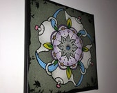 "Tea Mandala 12""x12"" canvas wrap ready to hang original digital illustration"