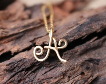 Initial Necklace. Gold. Letter. Personalized. Bridesmaid. Wire Jewelry.