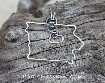 State Necklace, Iowa, Wire Outline, Sterling Silver