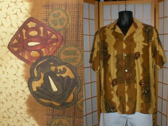 50s 60s tan abstract tiki print Hawaiian shirt mens size large