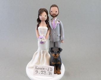 Custom Handmade Bride & Groom with a Dog Wedding Cake Topper