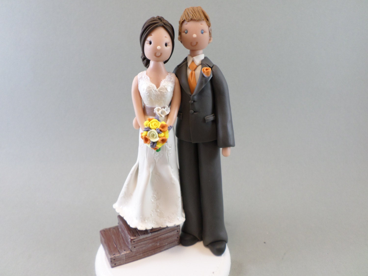 Short Bride & Tall Groom Personalized Wedding Cake Topper