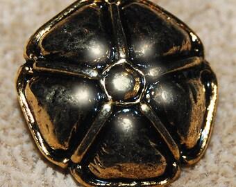 Vintage Art Deco Antique Gold Plated Flower 22mm Fancy Button N6R 4