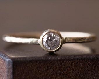Natural Silvery Grey Diamond Stacking Ring- 14kt