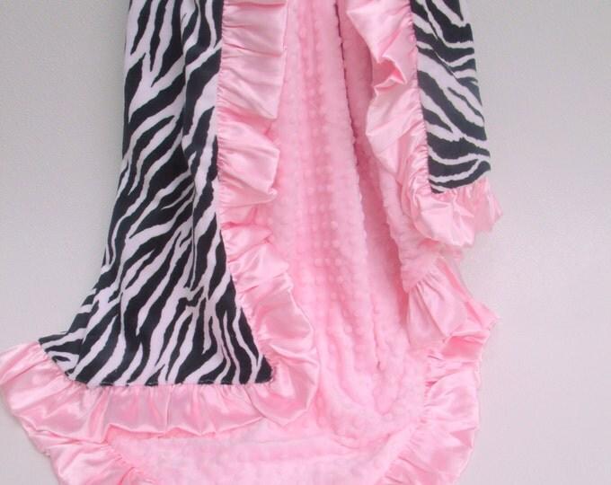Minky Baby Blanket - Pink and Black Zebra Baby Blanket - Black and White Zebra BlanketCan Be Personalized