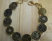 Vintage Victorian  Button Bracelet - Bronze Colored