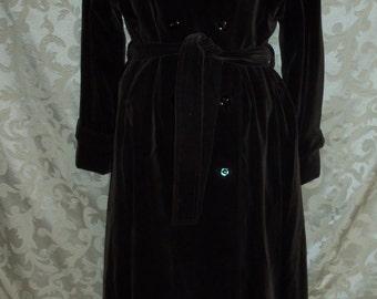 Vintage 60s Long Brown Velvet Jacket Coat BY Kreegers of New Orleans