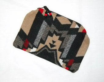 Clutch Unlined Large Brown and Black Overall Southwestern Geometric Tribal Handcrafted using Wool from Pendleton Woolen Mills
