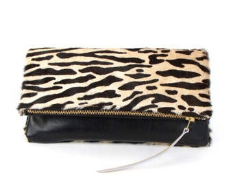 BLACK LEATHER Fold Over Clutch  -  ZEBRA Hair on Cowhide Leather Clutch - Leather Pouch - Reversible Black Purse