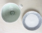 Porcelain Herringbone Patterned Cappuccino Cup and Saucer in White with Sage Green