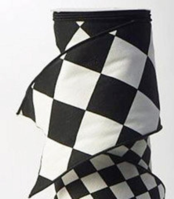 Black And White Large Print Harlequin Ribbon