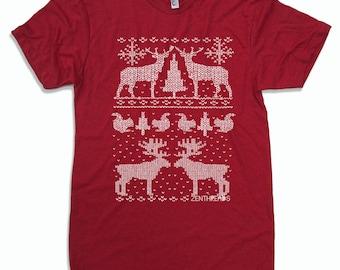 Men's CHRISTMAS Sweater Print t shirt american apparel S M L X L (16 Colors Available)