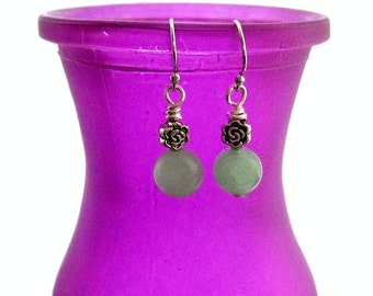 Seafoam Earrings. Amazonite Earrings with Flower Detail. Summer Breeze