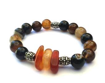 Gemstone stacking bracelet, agate beads, carnelian, stretch bracelet, unisex jewelry