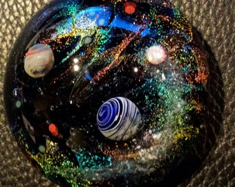 cremation memorial for pet ashes glass jewelry handmade to order galaxy space urn paperweight with opal comet