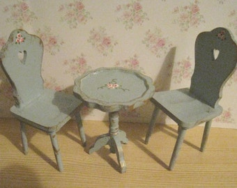 dollhouse table and chairs, table, chairs,  Dollhouse set,  two sets of  Piecrust wine table, two chairs, twelfth scale miniature
