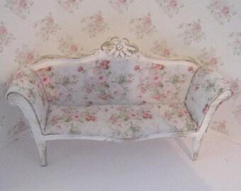 Dollhouse sofa, tatty chic, sofa, rosebud sofa, dollhouse miniature, twelfth scale