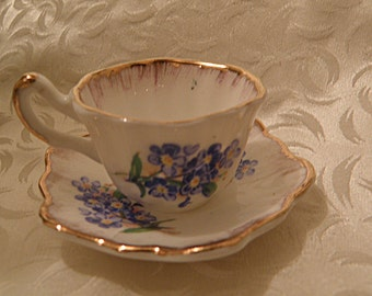 Miniature Cup and Saucer Liverpool Road Pottery Made in England