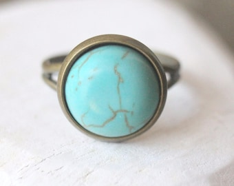 Turquoise Ring Adjustable ring Antiqued gold ring Antiqued Brass Ring blue ring turquoise Jewelry Gift for Her French gift under 15 R18