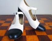 80s Chanel black white spectator t-strap gatsby flapper vintage Chanel heel shoes 37