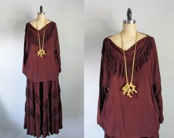 70s boho hippie fringe brown rayon lagenlook top skirt dress vintage set large