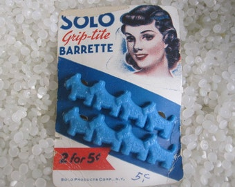 vintage hair barrettes rare still on it original card, blue scottie dogs, excellent  condition, NOS, new old stock.