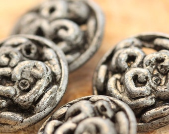 Vintage Buttons - Strange Ugly Swirl Guts Looking Pewter Metal Shanks (4) Abstract, Goth, Steampunk