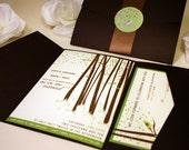 Green Forest Wedding Invitation, Rustic Wedding Invitation, Destination Wedding Country Wedding, Green Brown Birch Tree Wedding Invitations