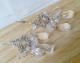 Clear Quartz Crystal Chandelier Earrings Sterling Wire Wrap Celestial Crystal Clear Statement Jewelry Boho Bride Wedding Earrings