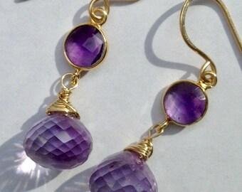Amethyst Gemstone Dangle Earrings, Pink Amethyst Handmade Gemstone Earrings, Wire Wrap Gold February birthstone