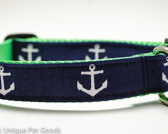 Anchors Away in Navy - Buckle or Martingale Dog Collar