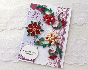 Personalized Card -Paper Quilling -Greeting- Paper Quilled- Birthday-Mom -Daughter -Floral Art -Crimson- Doily- Anniversary Wedding Birthday