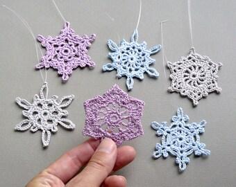 6 Medium Snowflake Ornaments -- Multicolored Crochet Snowflakes -- Assortment CN5