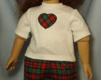 """Handmade two piece Red and Green Plaid Lounging  Pajama set with applique tee shirt for American Girl and other 18-19"""" dolls"""