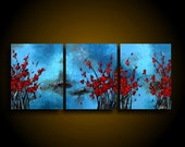 Abstract Painting. Large. Asian Painting. Modern Art. Original. Contemporary Painting. Huge 20 x 48 Art Artwork Blue Turquoise Red blossoms