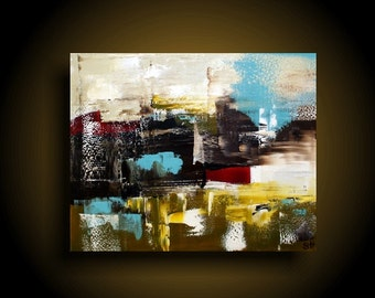 Large Abstract Painting Modern Painting Wall Art Modern Art Original Abstract Contemporary Painting 24 x 30. Blue cream olive Red White