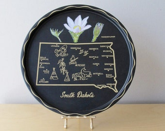 state map serving tray - south dakota - wisconsin souvenir trays