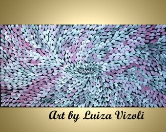 Abstract Floral Oil Large Painting PINK Grey WHITE Petals Stretched Canvas by Luiza Vizoli
