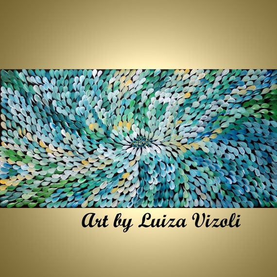 Original Modern Abstract Flowers Oil Painting on Large Canvas BLUE GREEN PETALS by Luiza Vizoli