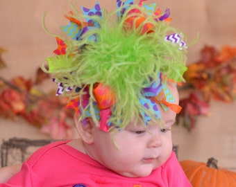 Glitter Shocking Pink Purple Turquoise Lime and Orange Polkadot and Chevron Over The Top Boutique Hair Bow matching Headband