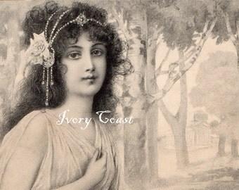 Princess in the Woods Vintage Postcard Digital Download