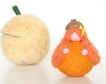 Pumpkin Fairy Toy, Needle Felted Waldorf Faerie Gnome, Orange Felt Pixie for Fall