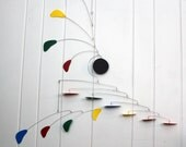 Calder Inspired Modern Mobile for Tall Ceiling or Balcony - Rainbow Arrow Style Loft Hanging Mobile - 31w x 42t - P117