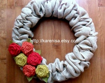 "Large Burlap Wreath, Front Door Wreath, Burlap Wreath with Burlap Flowers, Fall Colors, Autumn Colors, approximately 22"", MADE TO ORDER"