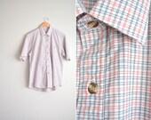 5 DOLLAR SALE! // Size L/XL // vintage men's white checkered short sleeve oxford button-up shirt.