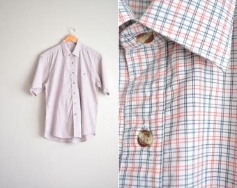 SALE // vintage men's white CHECKERED short sleeve OXFORD button-up shirt. size l xl.
