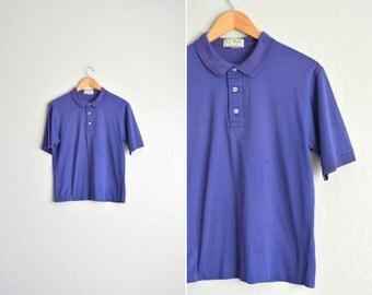 SALE / vintage men's '70s/'80s l.l. bean short sleeve PURPLE POLO shirt. size men's xs (short) / youth xl.