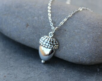 Large Acorn Sterling Silver Necklace - Child, Achievement, Graduation, Growth, Baby - free shipping USA
