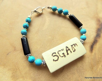 Tribal Bracelet, Cherokee Language, Turquoise Jewelry, Turquoise and Black, Handcrafted Jewelry, Gemstone Jewelry, Unisex Jewelry