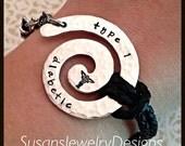 Leather Medical Alert Bracelet  - 1 sided aluminum swirl - leather bracelet - silver & stainless findings - medical alert symbol stamp